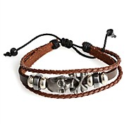 Fashion Hot New  Punk  Genuine Leather and PU Skull Brown Adjustable Bracelet