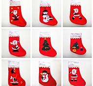 Christmas Santa Claus Socks with Different Colour and Decorations 6pcs(Random Colour)