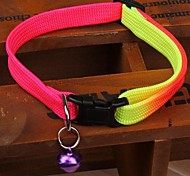 Cat / Dog Collar With Bell Stripe Rainbow Nylon