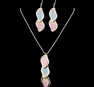 Fashion Glisten S Shape Multicolor Random Pattern Alloy Crystal Jewelry Sets(1 Set)(Silver,Golden)