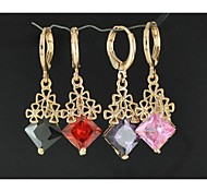 Fashion Flower Square Zircon Earring (Assorted Colors)