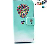 Balloon Pattern PU Leather Full Body Case with Card Slot and Stand for iPhone 4/4S