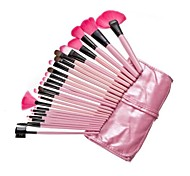 24Pcs Roll Up Case Cosmetic Brushes Kits Pro Wooden Handle Makeup Brushes Tools (Pink)