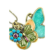 The European and American Style Restoring Ancient Ways Double Kick Butterfly Long Pendant Necklace/Sweater Chain