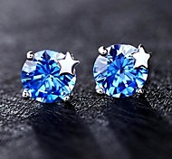S925 Sterling Silver simple CZ with Little Star Earrings