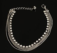 Fashion Wholesale Four Lines Wave Beads with Rhinestone Anklet