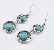 Toonykelly Vintage Look Turquoise Stone Dangle Drop Earring(1Pair)
