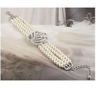 pieno di diamanti rosa quattro strati di braccialetto di perle # 32-1