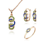 Z&X® European Style 18K Gold Plated Necklace Earrings And Bracelets Jewelry Set (1 set)