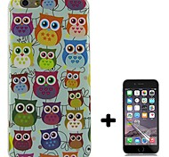 Color Owl Design Pattern Soft TPU Case Cover with Screen Protector for iPhone 6