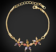 Cute New Girls Bracelet 18K Real Gold Plated Zirconia Floral Tourmaline Bracelet Fashion Jewelry For Women