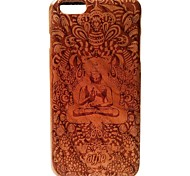 Kyuet Wooden Case Artist Made Cherry Wood Laser Engraving Buddhism Shell Cover Skin Cell Phone Case for iPhone 6 Plus