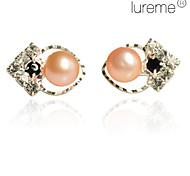Lureme®Heart Pattern Rhinestone Earrings