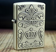 Earth Gold  Imperial Crown Pattern Metal Relief Oil Lighter