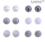 Women's Lureme Matte/Disco Ball/Glossy Bubble Stud Earrings Set(6 pairs per set)