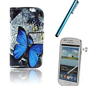 Butterfly PU Leather Full Body Case with Touch Pen and Protective Film 2 Pcs for Samsung Galaxy Trend Lite S7390 S7392