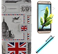 For HTC Case Card Holder / Wallet / with Stand / Flip Case Full Body Case Flag Hard PU Leather HTC
