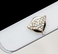 Full Diamond Fox's Head  Home Button Sticker for iPhone