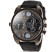 Men's Military Style Dual Time Fabric Band Quartz Wrist Watch