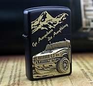 Earth Black Buggy Pattern Metal Relief Oil Lighter