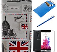 British Style Design PU Leather Full Body Case with Stylus、Protective Film and Soft Pouch for LG G3