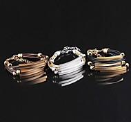 Ms Fashion Multi-layer Plating Gold Silver Leather Bracelet Exquisite Gift