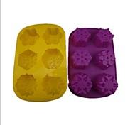 6 Hole Snow Shape Cake Ice Jelly Chocolate Molds,Silicone 28×17.8×3.4 CM(11.1×7.1×1.4INCH) Random Color