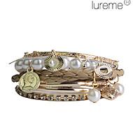 Lureme®Rose Gold Color Plated Alloy Pearl Multilayer Bracelet