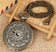 Unisex Vintage Spider Net Pattern Flip Alloy Quartz Necklace Watch Green Patina (1Pc) Cool Watches Unique Watches Fashion Watch