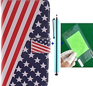 The American Flag Design PU Leather Full Body Case with Screen Protector, Stylus and Stand for Motorola MOTO X+1