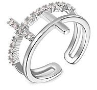 Roxi®Fashion Dual Cross Silver Copper Band Rings(1 Pc)