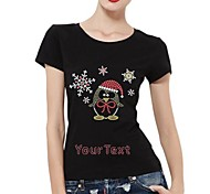 Personalized Rhinestone T-shirts Snowflake and Penguin Pattern Women's Cotton Short Sleeves