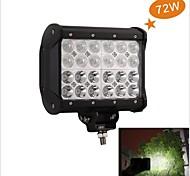 72W 6000K CREE Four Slice LED Strip Light Off-Road Truck Lamp Lights