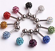 Crystal Disco Ball Girl's Earring Personality Ear Stud Body Piercing 6mm Ball