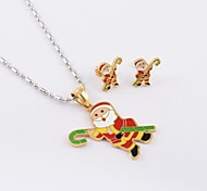 Fashion Santa Claus Titanium Steel (Necklace&Earrings) Jewelry Set