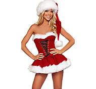 Hot Cute Red Fur Dress  Christmas Costume(2 Pieces)