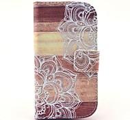 modèle en bois de fleurs mandala étui en cuir PU avec fente pour carte et d'éligibilité pour les mini i8190 samsung galaxy