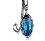 Fashion Sapphire Drop Alloy Pendant Necklace(Blue,Gray)(1 Pc)