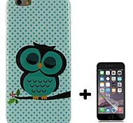 Green Dot Owl Design Pattern Soft TPU Case Cover with Screen Protector for iPhone 6/6S