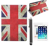 de Union Jack pu leer full body case met screen protector en touch screen pen geval voor ipad mini / mini 2