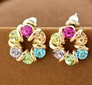 Colorful Czech Diamond Earrings