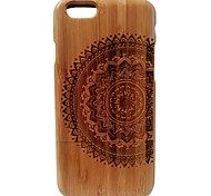 Kyuet Bamboo Case Artist Made Natural Bamboo Laser Engraving Mandala Shell Cover Skin Cell Phone Case for iPhone 6 Plus