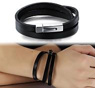 Art und Weise einfache Leder mehrschichtige Titan Stahl Schnalle Herren-Armband Schmuck