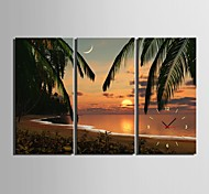 E-HOME® Beach Sunset Scenery Clock in Canvas 3pcs