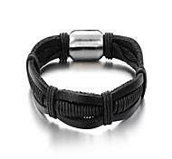 sencilla pulsera de cuero negro de la aleación de los hombres de moda (1 unidad)
