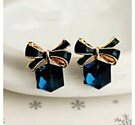 Love Is Your Crystal Square Bowknot Stud Earring