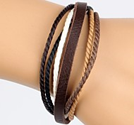 cuero pulsera de cuero del cáñamo de color rampa marrón de los hombres cómodos ajustables (1 pieza)