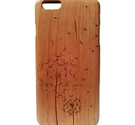 Kyuet Wooden Case Artist Made Cherry Wood Laser Engraving Dandelion Shell Cover Skin Cell Phone Case for iPhone 6 Plus
