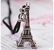Eiffel Tower Crown Leather Rope Long Necklace Restoring Ancient Ways
