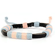 Comfortable Grandma's Knit Men's Leather Yarn Bracelet Baby Pink Blue (1 Piece)